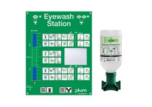Eye wash stations with sodium chloride solution
